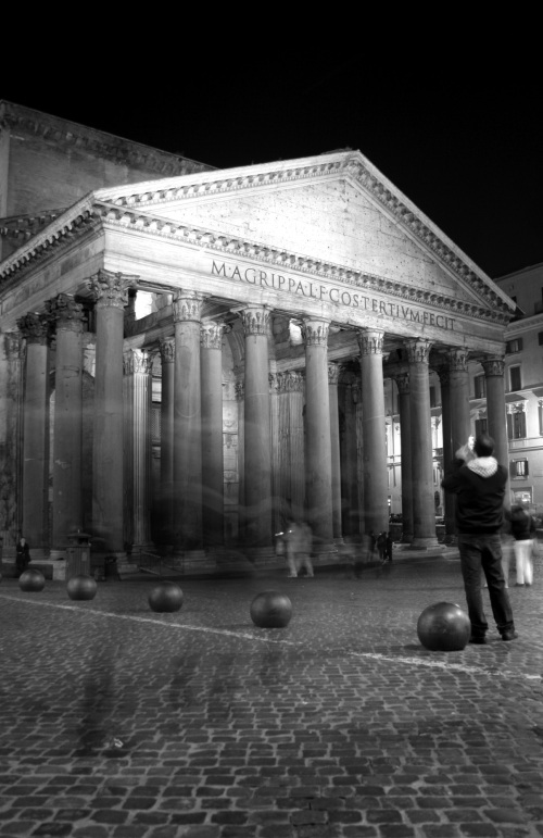 The Pantheon portico at night