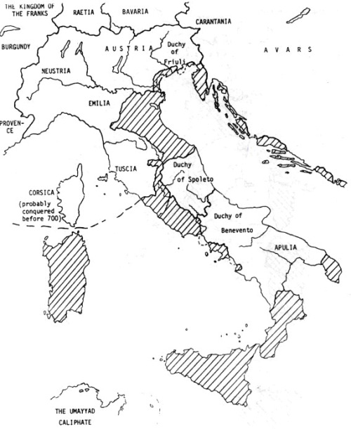 Map of Italy, 7th century