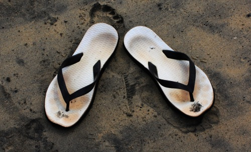 My thongs, on Varkala beach