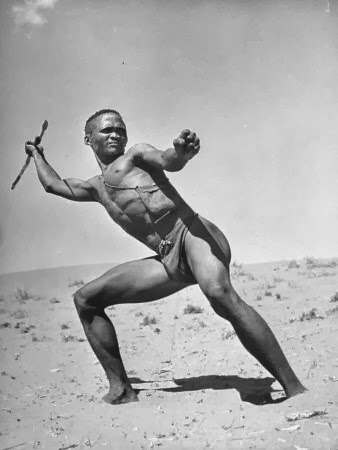 bushman-throwing-his-spear-at-a-winded-gemsbok
