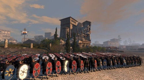 Defending the ruins of an ossified culture - note the re-purposed arena.