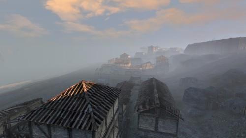 Coastal city in the morning mist