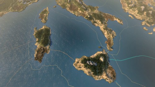Long-legged Italy kicked poor Sicily into the Mediterranean Sea...