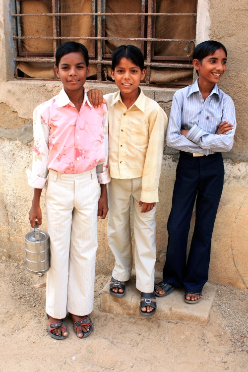 Three young men, Shekhawati, Rajasthan, India, April 1, 2010